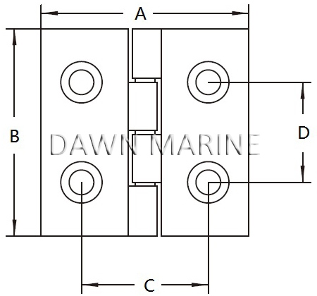 Stainless Steel Casting Square Hinge 1-2