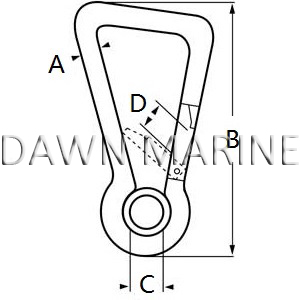 Stainless Steel Oblique Angle Snap Hook With Eye-2