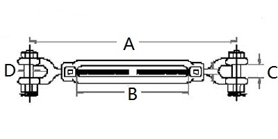 Stainless Steel US Type Turnbuckle Jaw & Jaw-3