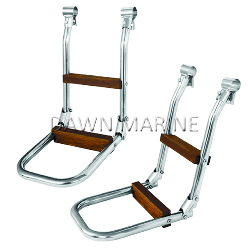 Stainless Steel Rail Mount Folding Ladder With Wood Step