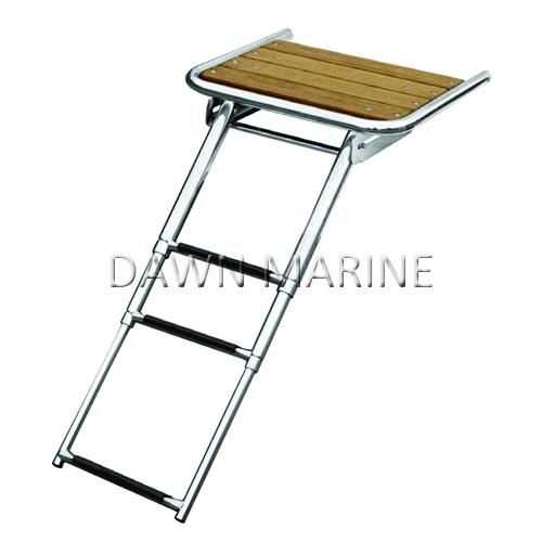 Teak Swim Platform with Telescoping Ladder | Dawn Marine